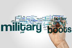 Military boots word cloud Stock Photos