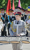 Military brass band. Brass band, female drummer. Victory Day, May 9 Military brass band. female drummer Royalty Free Stock Images