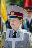 Military brass band. Brass band, female drummer. Victory Day, May 9 Military brass band. female drummer Royalty Free Stock Photography
