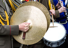 Military brass band marching at the parade Royalty Free Stock Images