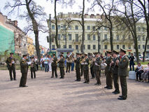 A military brass band playing in the square Stock Images