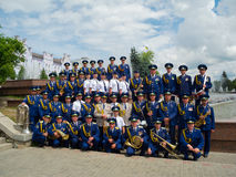 Military brass band posing Stock Image