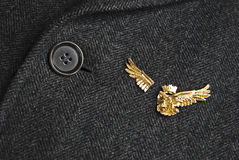 Military broken wings. Military eagle pin with broken wings on gray military coat Stock Photography