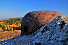 Military bunker in autumn nature Stock Image