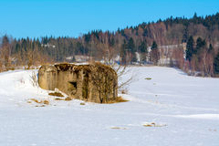 Military bunker in a winter landscape Stock Image