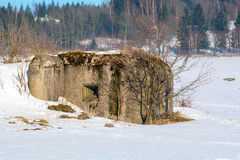 Military bunker in a winter landscape Royalty Free Stock Image