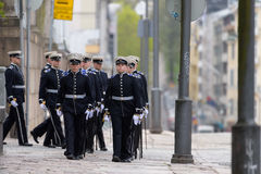 Military cadets parading before funeral service of the late Finnish President Mauno Koivisto at the Helsinki Cathedral. Stock Photos