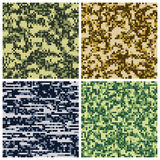 Military camouflage, army uniform fabric vector seamless patterns Stock Photos