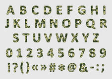 Military camouflage font, vector Stock Images