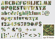 Military camouflage font Vector Illustration Royalty Free Stock Photos