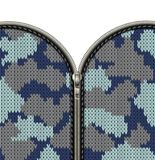 Military Camouflage Knitted Texture With Lock As A Fabric Texture In Khaki Hues. Fastener And Zipper Isolated On Knitted Stock Photo