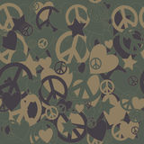 Military Camouflage Love and Peace sign Royalty Free Stock Images