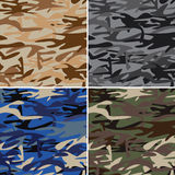Military camouflage pattern set of desert, urban, navy, jungle. Royalty Free Stock Images