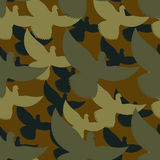 Military camouflage Pigeons. Birds Protective seamless pattern. Royalty Free Stock Image