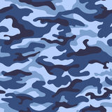 Military camouflage seamless pattern, blue color. Vector illustration Stock Photos