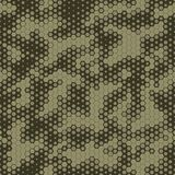 Military Camouflage Seamless pattern, Hexagonal grid background. Stock Images