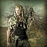Military Camouflaged man with  automatic Stock Photo