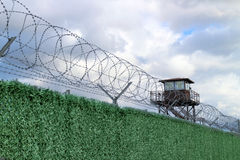 Military camp. With fence and watchtower Royalty Free Stock Image