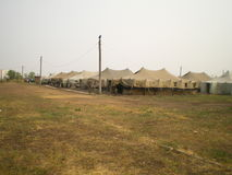 Military camp tent. Army tents in the field, military camp tent royalty free stock image