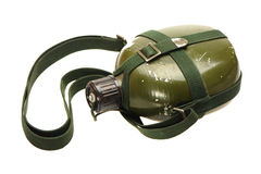 MILITARY CANTEEN. An olive drab green army style canteen stock photo