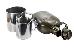 Military canteen and mugs Stock Photo
