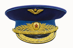 Military cap. Soviet general, isolated over white Royalty Free Stock Photography