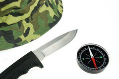 Military Cap, Knife and Compass Isolated Stock Photo