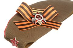 Military cap with Saint George ribbon, order of Great Patriotic war Royalty Free Stock Images