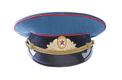 Military cap of the Soviet army officer, isolated over white Stock Photo