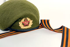 Military cap and St. George`s ribbon Stock Images