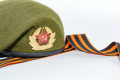 Military cap and St. George`s ribbon Royalty Free Stock Photo