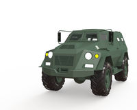Military car. 3d render Military car  on white Royalty Free Stock Photos