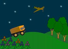 Military car, airplane flying in a night sky Stock Photos