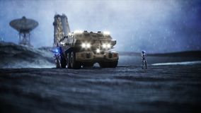 Military car on moon with robots. Moon colony. Earth backround. 3d rendering. Military car on moon with robots. Moon colony. Earth backround. 3d rendering Royalty Free Stock Image