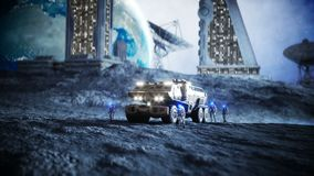 Military car on moon with robots. Moon colony. Earth backround. Realistic 4K animation. Military car on moon with robots. Moon colony. Earth backround stock footage