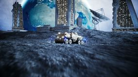 Military car on moon with robots. Moon colony. Earth backround. Realistic 4K animation. Military car on moon with robots. Moon colony. Earth backround stock video footage