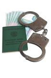 Military card of officer, handcuffs and money isolated Stock Photos