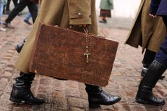 Military carrying large briefcase Stock Photos