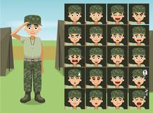 Military Casual Wear Soldier Woman Cartoon Emotion faces Royalty Free Stock Photos
