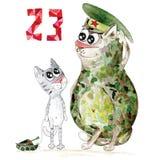 Military cat man day card Stock Photos