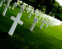 Military cemetery. White crosses in an american military cemetery Royalty Free Stock Images