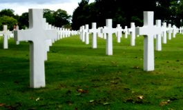 Military cemetery. White crosses in an american military cemetery Royalty Free Stock Photos