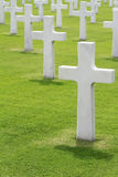 Military Cemetery. White marble crosses in an American military cemetery Royalty Free Stock Photo