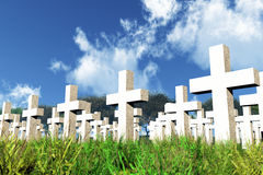Military Cemetery 3D render 02 Royalty Free Stock Images