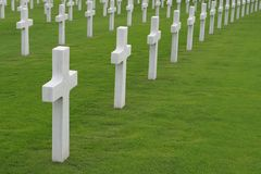 Military Cemetery. White marble crosses in a military cemetery Stock Photos