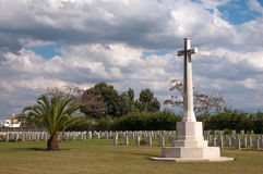 Great memorial cross on the military cemetery Stock Photography