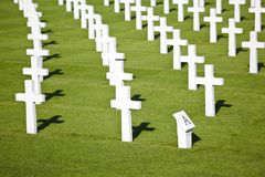 Military Cemetery Crosses. The American military cemetery Henri-Chapelle near Aubel in Belgium Stock Photography
