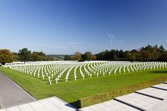 Military Cemetery Crosses, Belgium. The American military cemetery Henri-Chapelle near Aubel in Belgium with its white crosses Royalty Free Stock Photos
