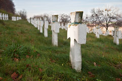 Military Cemetery. Crosses in a military cemetery of World War II Stock Photo