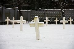 Military cemetery. Czech military cemetery in prague, military cemetery in winter Royalty Free Stock Images